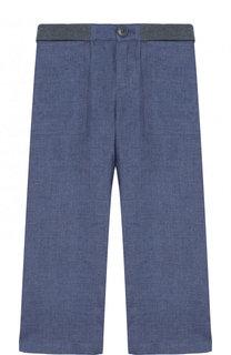 Льняные брюки прямого кроя с эластичной вставкой на поясе Loro Piana
