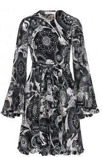 Приталенное мини-платье из смеси хлопка и шелка с поясом Chloé