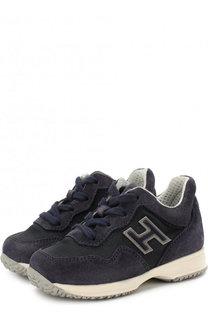 Замшевые кроссовки на шнуровке с молнией Hogan