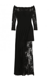 Приталенное кружевное платье-макси с открытыми плечами Alexander McQueen