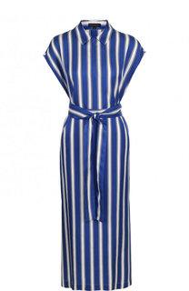 Шелковое платье-миди в полоску Escada