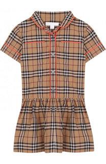 Хлопковое мини-платье с принтом Burberry