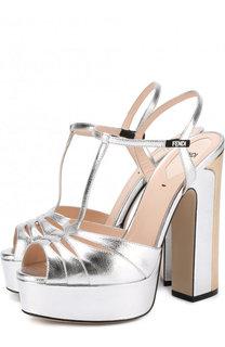 Босоножки Duo из металлизированной кожи на устойчивом каблуке Fendi