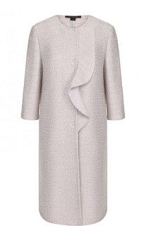 Пальто прямого кроя с укороченным рукавом и оборкой St. John