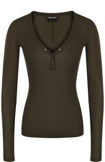 Облегающий шелковый пуловер с V-образным вырезом Tom Ford