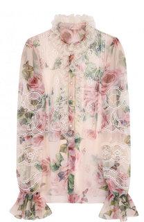 Шелковая блуза с кружевными вставками и цветочным принтом Dolce & Gabbana