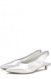 Туфли из металлизированной кожи на каблуке kitten heel Vic Matie
