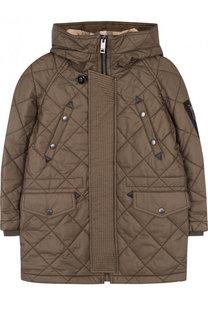 Стеганая куртка на молнии с капюшоном Burberry