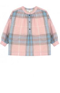 Хлопковая блуза свободного кроя с принтом Burberry
