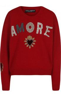 Кашемировый пуловер с круглым вырезом и декоративной отделкой Dolce & Gabbana