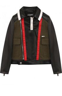 Текстильная куртка с косой молнией и контрастной отделкой Dsquared2