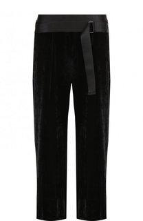 Однотонные укороченные брюки из смеси вискозы и шелка Ann Demeulemeester