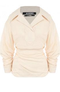 Однотонная блуза из смеси льна и вискозы с драпировкой Jacquemus