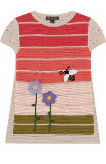 Мини-платье из смеси хлопка и шелка фактурной вязки Loro Piana