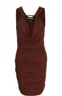 Однотонное мини-платье из вискозы с V-образным вырезом Jacquemus