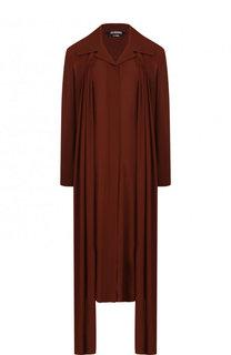 Однотонное платье из вискозы асимметричного кроя Jacquemus