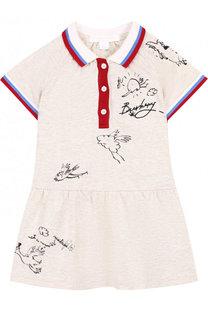 Хлопковое мини-платье с принтом и контрастной отделкой Burberry