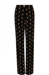 Бархатные расклешенные брюки с вышивкой Chloé