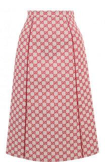 Хлопковая юбка-миди с логотипом бренда Gucci
