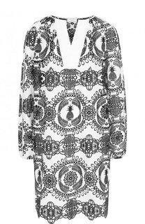 Мини-платье из смеси хлопка и шелка с контрастной отделкой Escada Sport