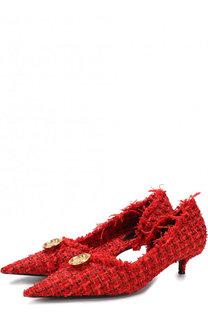 Текстильные туфли Knife Tweed на каблуке kitten heel Balenciaga