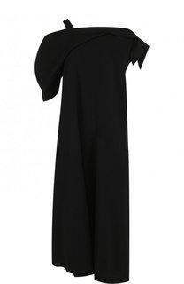 Шерстяное платье-миди свободного кроя с открытым плечом Yohji Yamamoto