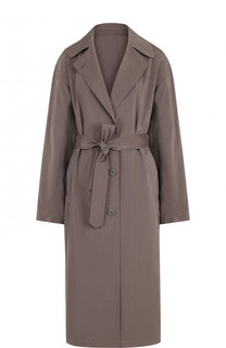 Однотонное пальто с поясом и карманами Dries Van Noten