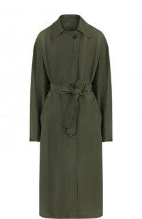Однотонное пальто из вискозы с поясом Dries Van Noten