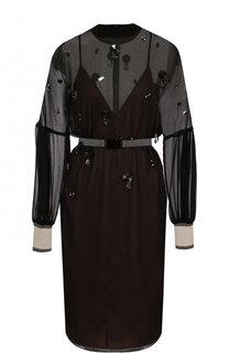 Приталенное мини-платье с декорированной отделкой и воротником-стойкой By Malene Birger