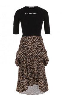 Приталенное платье-миди с оборками и принтом Balenciaga