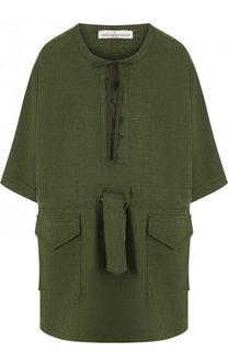 Льняное мини-платье свободного кроя с эластичным поясом Golden Goose Deluxe Brand