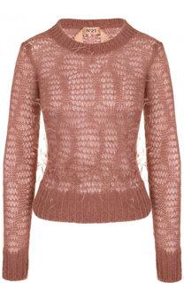 Приталенный вязаный пуловер с перьевой отделкой No. 21