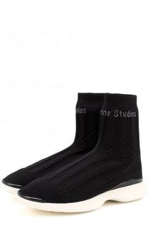 Высокие текстильные кроссовки с логотипом бренда Acne Studios