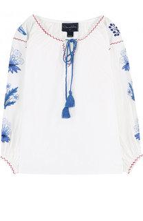 Хлопковая блуза с контрастной вышивкой Oscar de la Renta