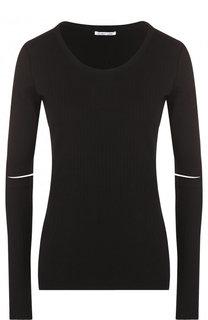 Хлопковый приталенный пуловер с круглым вырезом Helmut Lang