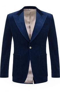 Однобортный хлопковый пиджак с остроконечными лацканами Gucci