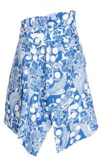 Асимметричная мини-юбка с контрастным принтом Carven