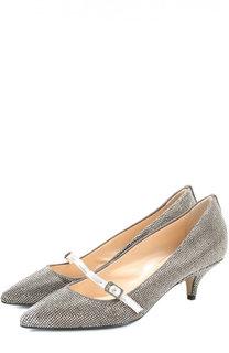 Кожаные туфли со стразами на каблуке kitten heel No. 21