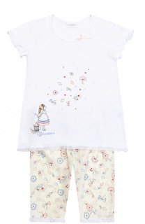 Пижама с принтом и кружевной отделкой La Perla