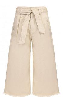 Укороченные расклешенные брюки с необработанным краем и поясом Isabel Marant Etoile