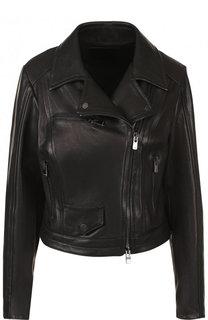 Однотонная кожаная куртка с косой молнией DROMe