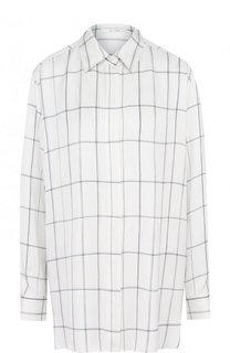 Шелковая блуза свободного кроя в клетку The Row