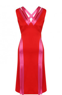 Приталенное платье с V-образным вырезом и контрастной отделкой Versace