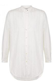 Хлопковая рубашка асимметричного кроя Saint Laurent