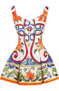 Приталенный хлопковый комбинезон с ярким принтом Dolce & Gabbana