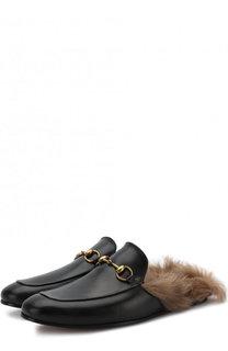 Кожаные сабо Princetown с меховой отделкой Gucci