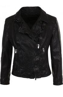 Кожаная куртка с укороченным рукавом и косой молнией DROMe
