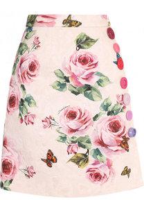 Мини-юбка А-силуэта из смеси хлопка и шелка Dolce & Gabbana