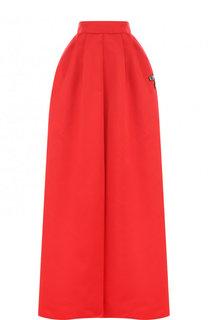 Однотонная юбка-макси с контрастной отделкой Rochas