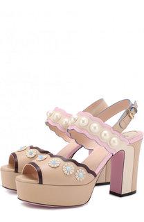 Кожаные босоножки Pearl Land на устойчивом каблуке Fendi